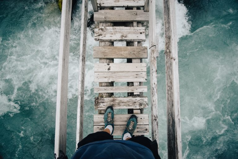 Walking on a wooden bridge
